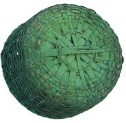 "W317 19th century gathering Basket with the original green paint, very well constructed, with a fixed handle, reinforced bottom and a double wrapped rim, very tight and sturdy, measurement are:13"" diameter x12"" tall including the handle"