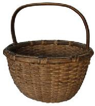C159 MARYLAND  OAK SPLINT BASKET, well woven round form with  tightly wrapped rim and steamed and bent and notched handle , outstanding original dry natural patina  surface. Found near Delmarva