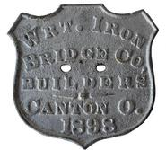 B368 19th century Plate Wright Iron Co.  Bridge Builders, Canton Ohio , from a bridge in Kent County Maryland dated 1898 from a bridge in Still Pound Creek.The bridge was in use until the Mid- 1950's  the plate was found in the creek and presented to Historical Society of Kent County in 1963