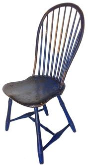 "A426 Late 18th century (1790-1810)  Pennsylvania   nine spindle bow  Back, saddle Seat Windsor Chair, with Bamboo Turned Legs Retaining an Old indigo  Blue paint over red . with historic providence  on the bottom of the Chair from the collection of Morris A. Barr,Royersford Pennsylvania , attribute Preden Andrew Jackson 36 1/2""h x 161/2""w x 16""d."