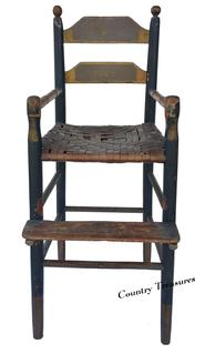 "D238 Early  19th century Pennslyvania ladder back  Youth Chair repainted in 1887 with blue, gray and mustard the original color is bittersweet, still retains it original seat, circa 1820 Measurements are: 14 1/2"" wide x 16"" deep x 35"" tall"