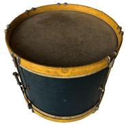"D539 19th century wooden painted snard Drum, with original  blue and mustard painted good condition  10"" diameter x 12"" tall"