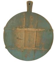 RM1110 19th century Peel board was used in England to peel potatoes. One side is in original stunning blue paint and the other side is a rich natural pine patina .