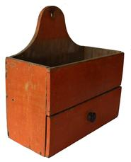 C408 19th century rare over sized hanging Wall Box with the original dry pumpkin paint with a full width drawer, nice high arched backboard  with hole for hanging, nail construction with tee nails and square head nails, circa 1820