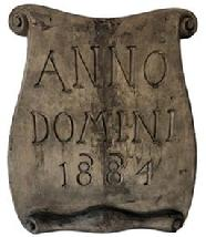 E285 19th Century Scroll shaped and deeply carved wooden building sign inscribed with: �Anno Domini 1884�. (Latin for: �Year of our Lord� � which was later abbreviated as A.D.) e