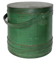 "B489  Original unclean dry  green   painted wooden Firkin,The Firkin sides and top are surrounded by a simple overlapping bentwood bands, secured by small  tacks   11 1/2"" diameter across the top x 11""  across the bottom x 11 1/2"" tall"