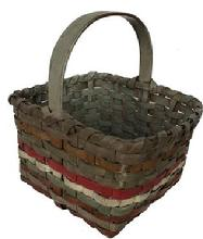 E567 Early 20th century Gathering Basket in original paint. green. brown. red and gray . This basket is heavey and very well mad with a steamed and bent handle