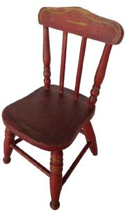 A179 Miniature Bittersweet Red painted Late 19th century Doll Chair with it's original paint! Wonderful Windsor style Fan back design