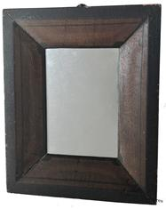 "D498 Early 19th century decorated frame with mirror from Vermont,circa 1830  dark mustard decorated with black, all original 10"" x 8"""