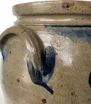 "F42 3 Gallon Stoneware Crock made and stamped by ""P. Herrmann."" This is the stamp of Peter Herrmann who made pottery in Baltimore, Maryland from 1850-1872. Cylindrical jar with tooled shoulder handles."