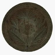 X264 19th century  large Chip-carved  butter print of Pennsylvania origin, Butter Print  has a very nice deeply carved flower design