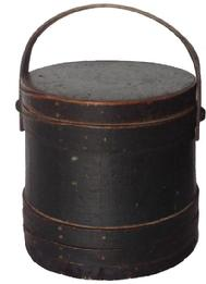 Z305 19th century signed (Excelsior Extra) green Covered Wooden Firkin, tongue and groove softwood staved sides, tapered lap joint wood bands,helded in place with copper tacks and staples bent wood handle with wood peg attachmentsl