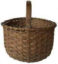 "D509 Gathering Basket round in old natural patina with a single wrapped rim and steamed a bent handle, with a slight kicked in bottom  with a wrapped ring around bottom Measurement 14""  wide x 13"" tall"