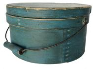 "RM883 19th century  pantry box , Coming out of Delaware, this beauty measures 11"" wide in diameter (lid) and stands 6"" tall. The box retains the original lid and bail handle. Everything is sturdy and stable.The gorgeous blue paint, is dry and all original"