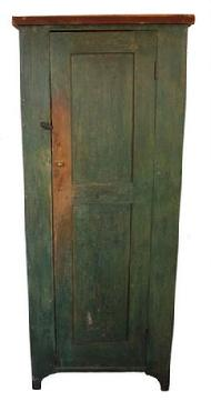 C29 19th century Shenandoah Valley Virginia one door Chimney  Cupboard in the original green paint , interior natural patina, one board  white pine  construction, nice high cut out foot,