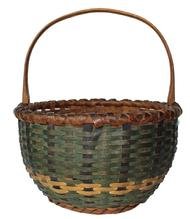 "C445 Very unusual Virigina painted Basket in three colors of green, mustard and black, with a nice high knotched and steamed handle, double wrapped rim, with  and a foot bottom excellent condition  15"" tall x 13"" diameter"
