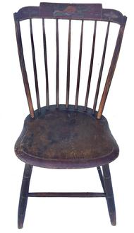 "E327 Early 19th century  untouched red painted Bamboo  Windsor chair with decorated top rail, floral design  from New England is in untouched amazing surface.  The condition is very good and sturdy.  circa 1800 Measurements are: 34 1/2"" tall x 18 1/2"" wide x 20' deep"