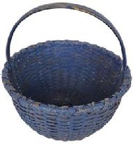 "D233 19th century round gathering basket with beautiful  blue  paint, nice high steamed and bent handle. with a raised  bottom, double wrapped rim heavy and sturdy. 12"" tall x 12"" diameter"