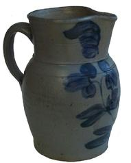 "Y347 19th century  Small-Sized Cobalt-Decorated Stoneware Pitcher, Baltimore, MD origin, circa 1870,  decorated with a brushed cobalt design of double-stemmed clover plant. Collar decorated with brushed cobalt leaves. Unusual size, measuring approximately one-half-gallon to three quarts. . excellent condition   8 3/4"" tall."