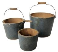 "E239 SET OF THREE,AMERICAN PAINTED GRADUATED MINIATURE / TOY PAILS, each with a bail handle and retaining an old blue-painted surface.  Tallest  4 1/4"" diameter x 3 1/2"" tall x smallest 2 1/2"" diameter x 2"" tall"