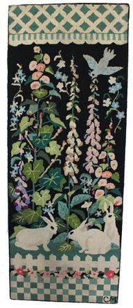 D93 Early 20th Century Americana Folk Art Hooked Rug, , Beautiful hand made hooked rug with three Bunnies in a flower garden , with blue bird