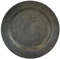 "U558 Large late 17th century Pewter Charger with a molded rim,back is engraved ""I E""n in large letters, touch marks on top of Charger's Boarder 21 7/8 DIA"