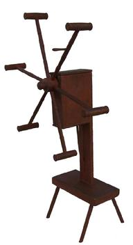 X529 19th century  six arm wooden Yarn Winder, four legs supporting a platform and frame, wooden gear shaft enclosed in a box frame dry surface,