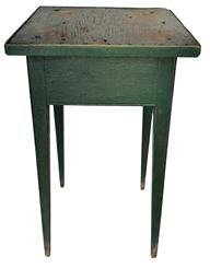 "D538 18th century Hepplewhite splayed leg  Candle Stand in early green paint, one board top with applied molding, bead on all for sides of the legs, mortised and pegged construction, from Rising Sun Maryland Measurements are: 15"" x 15 1/2""  x 26 1/4"" tall"