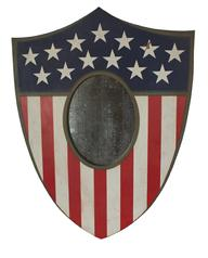 RM582 OUTSTANDING !!! WOODEN AMERICAN SHIELD MIRROR PLAQUE. American, late 19th century