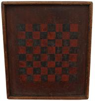 C467 19th century  Pennslyvania  Checker Board, red and black squares, painted on one board with applied molding, held in place with square head nails,