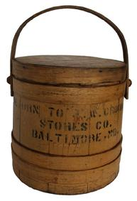 C162 Early 20th century Firkin for J. W. Crook store Baltimore Maryland  The Store the corner building , J.W. Crook Grocery on Edmundson St in Baltimore, Maryland.