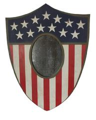 RM582 OUTSTANDING !!! WOODEN AMERICAN SHIELD MIRROR PLAQUE. American, late 19th century. Original paint