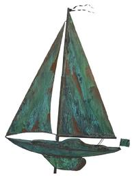 W68 Old  full bodied  copper Sailboat Weathervane with a nice matted verdigris patina from an Estate in Dorchester Co. Maryland