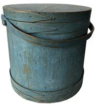 "E90  19th century Covered Wooden Firkin, in the  original  dry blue paint, tongue and groove softwood staved sides, tapered lap joint wooden bands, bent wood handle with wood peg attachments, 14"" tall. x 14 1/4""dia, top 15 1/4"" bottom"