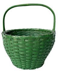 F414 Gathering Basket with wonderful original green paint , in great condition, the rim is single wrapped, with a high steamed and bent handle . The basket is well made and tight