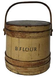 "B409 19th century Firkin with the word Flour, with original mustard paint with black letting stave constructed bucket ""B. Flour"". Lid and swing handle"