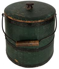 E583 Mid 19th century, Surgar Bucket with the original beautiful dry green paint, lidded wooden sugar Bucket , With iron hoops, wire bail, iron bail ,tongue and groove softwood staved sides,