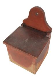 "B637 Early 19th century Pennslyvania Salt Box , the wood is walnut, with the original red paint, dovetailed case with arched back with hold for hanging. circa 1820, Paint loss to the base of the box , from the storage of salt, Measurements are 12 1/4"" tall x 8"" wide x 7 1/2"" deep"