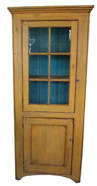 "C582 Early 19th century Shenandoah Valley Virginia six window lites flat wall cupboard,in early yellow paint , very unusual small form, with a single glass door over a single paneled door , Circa 1820""s"