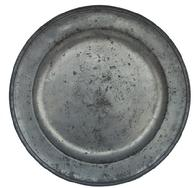 Y178 18th century Pewter Charger with  indistinct touches and a hammered booge  16 5/8 diameter