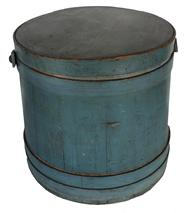 "B16 Large over size Original blue painted, Wooden Firkin, tongue and groove softwood staved sides, tapered lap joint wood bands, bent wood handle attachments, Measurements are: 14 /2""  diameter top  14 1/2"" tall"
