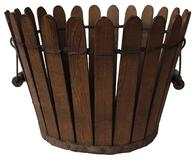 D109 Americana piece, this Shaker wooden slat basket is made in the 'picket fence' style, with swing wire bale and wood handles. It has a metal band tacked around the outside bottom.
