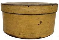 "E587  19th century hard to find  Pantry Box with the original beautiful dry mustard paint, heavy construction, bent wood round form with nailed lap joint ,Measurements are: 9"" x 4 1/2"""