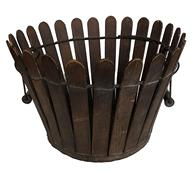 MZ3 late 19th century Shaker Gathering Basket Circa 1876 Large oval vertical slat basket with double swing handle.