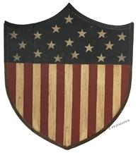 RM790 Patriotic Maine hand  painted wooden shield red white blue stars and stripes, nice molded edge. Early 20th Century folk art circa 1918 -1945 measures 19� tall 17� wide
