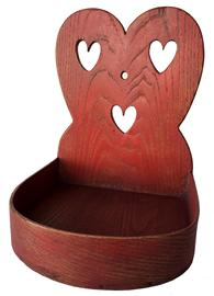 RM981 Wonderful Philadelphia PA. red painted  heart cut-out wall box, High arched back with three heart�s. Circa 1890-1920 measures 11� tall 8 1/2� wide 8 1/2 deep
