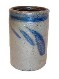 "S62 Canning jar with an inset lid late nineteenth century 6 1/2"" tall x 4 1/2"" diameter"