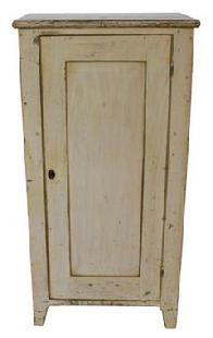 C201 19th century Berk's County one door storage cupboard, single panel door, in the original buttery paint, circa 1850
