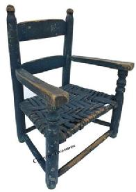 D238 Early 19th century Pennslyvania ladder back Youth Chair repainted in 1887 with blue, gray and mustard the original color is bittersweet, still retains it original seat, circa 1820