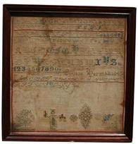 V227 Mid 19th century Sampler made by Louise Herman 1849  as found